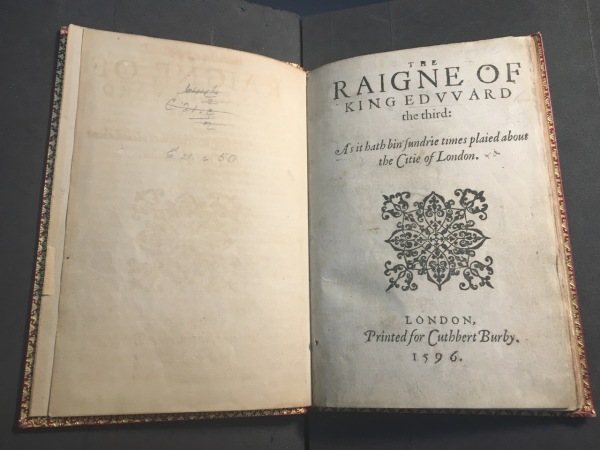 Title page of 1596 Quarto